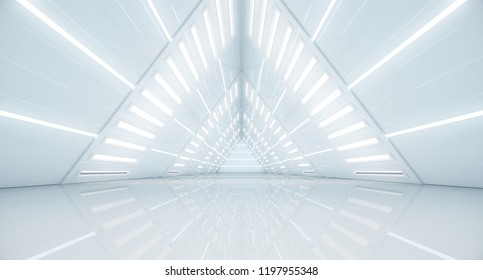 Abstract Triangle Spaceship corridor. Futuristic tunnel with light. Future interior background, business, sci-fi science concept. 3d rendering