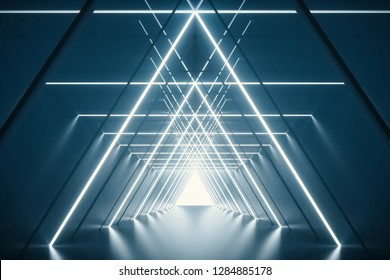 Abstract Triangle Spaceship corridor. Futuristic tunnel with light. Future interior background, business, sci-fi science concept. 3d rendering - Illustration