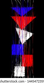 Abstract triangles, quadrilaterals and lines on black background.
