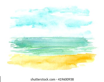 Abstract tropical beach view painted in watercolor on white isolated background