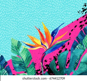 Abstract tropical summer design in minimal style. Watercolor exotic flowers, palm leaves, grunge textures, doodles. Water color background with 80s or 90s elements. Hand painted illustration