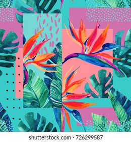 Abstract tropical summer design in minimal style. Watercolor exotic flowers, monstera leaves, grunge textures, doodles. Water color background with 80s or 90s elements. Hand painted illustration