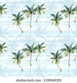 Abstract tropical summer seamless pattern. Watercolor palm trees, textured shadows on simple striped background. Hand painted tropic illustration