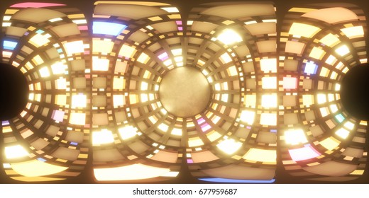 Abstract tube or cylinder space with random rectangular cell lights. Equirectangular projection, 360 degrees spherical panorama. 3d rendering illustration for VR
