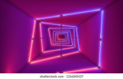 abstract tunnel with neon lights 3d rendering image