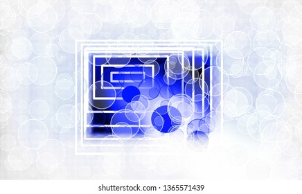 Abstract tunnel of quadrilaterals surrounded by white and blue bubbles on a white textured background.