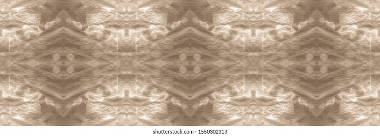 Abstract Turkish Ethnic Decor. Abstract Seamless Patchwork Wallpaper. Texture Watercolour. Watercolor Design. Dip Dye. Rimy Brown, Grey On Old Paper.