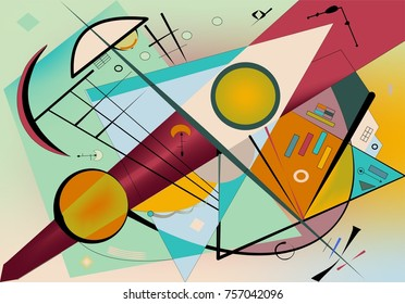 Abstract  turquoise background ,fancy  geometric and curved shapes , expressionism art style