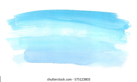 Abstract turquoise blue brush strokes painted in watercolor on clean white background