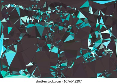 Abstract turquoise polygonal texture background. Geometric marble pattern for graphic design. Can be used as print or wallpaper. Swirl trangle futuristic artwork.