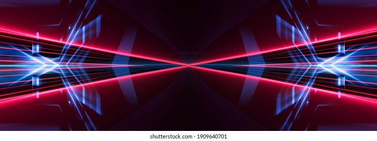 Abstract ultraviolet banner, neon background. Dynamic Beams and light tunnel lines. Night view, party.