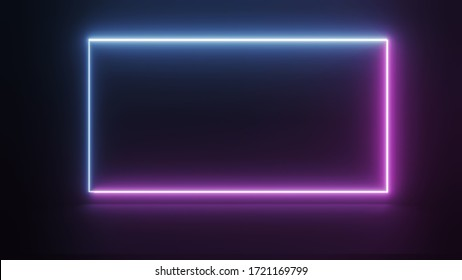 abstract ultraviolet blue neon light square frame on dark night background