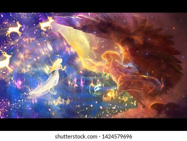 Abstract unique digital drawing of a woman in a colorful nebula looking at a gigantic glowing unicorn artwork
