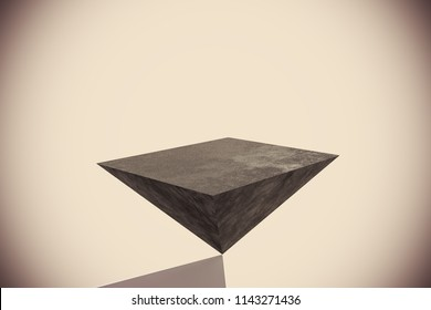 Abstract upside down pyramid background with copy space. 3D Rendering