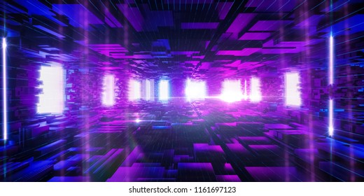 Abstract urban background, big data, geometric structure, cyber safety, quantum computer, storage, virtual reality, futuristic pink blue neon light. 3d rendering