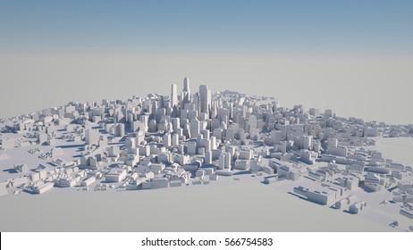 Abstract urban landscape, 3 d render