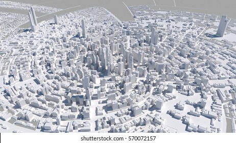 Abstract urban landscape, top view, 3 d render