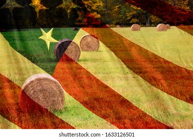 Abstract US flag image overlaid with rolled hay bales in a field.