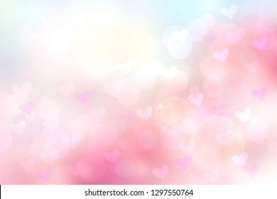 Abstract valentine background. Abtract festive blur pink pastel background with hearts for valentine or wedding. Romantic backdrop with space for your design. Card concept.