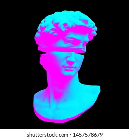 Abstract vaporwave style digital illustration from 3D rendering of Michelangelo's David bust sliced in two.