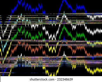Abstract varicolored illustration of patterns of information, apparently, transmitted to us recently from an alien entity on a distant world, with implications for further terrestrial research