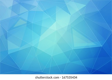 Abstract vector blue color geometric background, triangulation generic backdrop for design, colorful horizontal template
