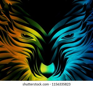 Abstract vector colorful and powerful wolf on a black background