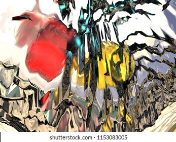 Abstract view of a spider with a red head, yellow body and black legs (3D rendering)