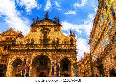 Abstract view of St. Salvator Church is one of two churches in the Klementinum, in Old Town, Prague, Czech Republic