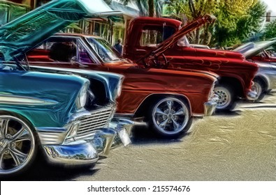 Abstract Vintage Car Show Background