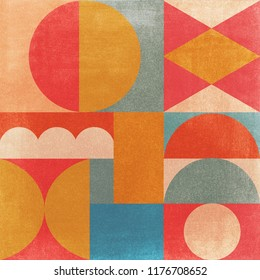 Abstract Vintage Geometric Background with paper texture