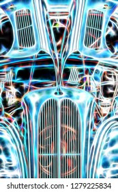 abstract of a vintage hotrod with a gullwing hood
