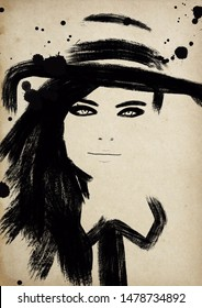 Abstract vintage looking fashion illustration, woman portrait.
