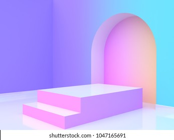 abstract violet-purple blue yellow pink gradient wall-room blank podium 3d rendering