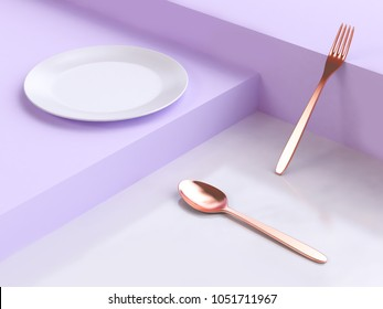 abstract violet-purple white geometric floor scene dish copper fork spoon 3d rendering