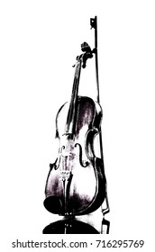 An abstract violin , charcoal drawing illustration and white isolated background.