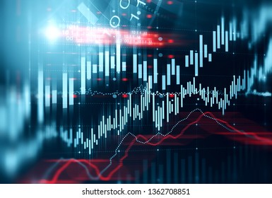 Abstract virtual interface with graphs and HUD. Concept of trading and hi tech in business. Toned image double exposure 3d rendering illustration