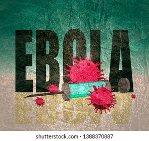 Abstract virus image on backdrop and Ebola text. Ebola virus danger relative illustration. Medical research theme. Virus epidemic alert