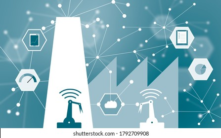 Abstract visualization of IIoT, Industrial Internet of Things or Industrial revolution 4.0. Sensors and assets connected for better performance, used in asset management and predictive maintenance.