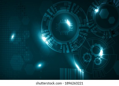 Abstract visualization of IIoT, Industrial Internet of Things or Industry 4.0. Gears and sensors connected for better asset performance and predictive maintenance.