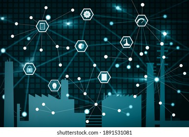 Abstract visualization of Industrial Internet of Things (IIoT). Silhouette of a factory surrounded by elements to emphasize the connectivity of sensors, for better asset management.