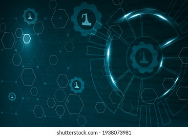 Abstract visualization of Industry Internet of Things (IIoT) or Industry 4.0. Technical gears, robot arms and connections for better asset management and predictive maintenance.