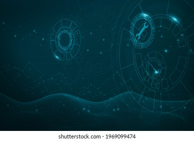 Abstract visualization of Industry Internet of Things (IIoT) or Industry 4.0. Technical gears and maintenance tools icons to showcase predictive maintenance and better asset performance.