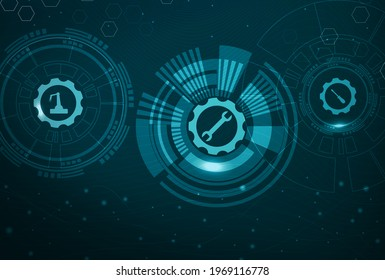 Abstract visualization of Industry Internet of Things (IIoT) or Industry 4.0. Technical gears and maintenance tools for predictive maintenance and longer asset life.