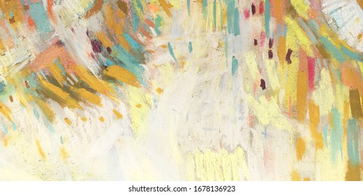 Abstract vivid pencil texture for web banner. Pastel textured background with handmade drawings. Artistic wallpaper with multicolor shapes, lines, spots. Vibrant template of the gallery banner — Art.
