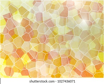 Abstract Voronoi Illustration Background with Orange to Yellow Color Tone and Opacity Gradient to Light Shading on Voronoi Grid Lines In Large Huge Resolution Pixel JPEG Backdrop File, Maximum Details