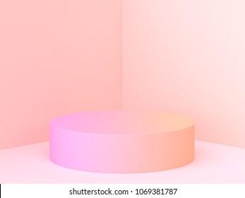 abstract wall corner scene 3d rendering minimal circle gradient podium