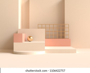 abstract wall cream-yellow orange geometric shape minimal 3d rendering