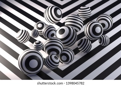 Abstract wallpaper, black and white striped spheres, 3d render / rendering