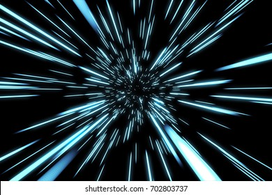 Abstract of warp or hyperspace motion in blue star trail. Exploding and expanding movement 3d illustration